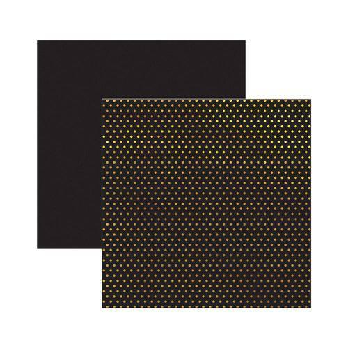 Papel Scrapbook DF - SDF618 Metalizada Poá Dourada FD Preto