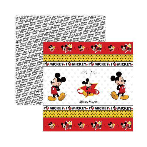 Papel Scrapbook DF - SDFD013 - Mickey Mouse Fitas e Rótulos