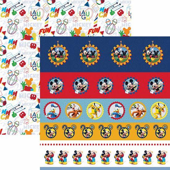 Papel Scrapbook Dupla Face 30,5x30,5cm a Casa do Mickey 1 Selos e Tags SDFD-121 - Toke e Crie