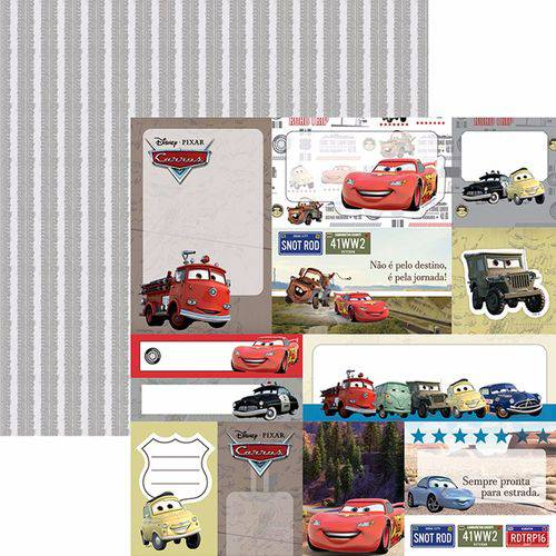 Papel Scrapbook Dupla Face 30,5x30,5cm Carros 2 Tags Sdfd-094 - Toke e Crie
