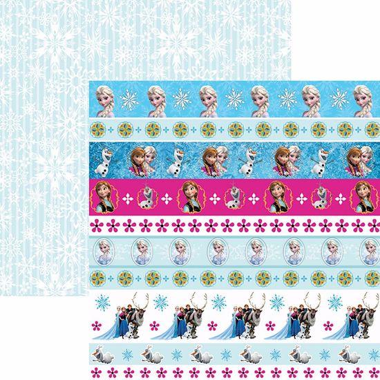 Papel Scrapbook Dupla Face 30,5x30,5cm Frozen 2 Faixas SDFD-101 - Toke e Crie