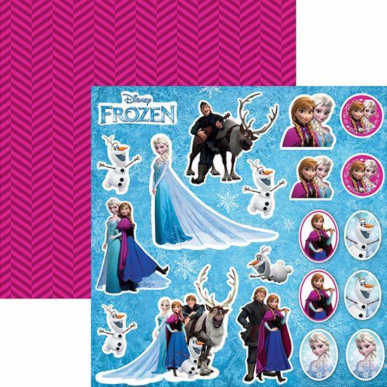 Papel Scrapbook Dupla Face 30,5x30,5cm Frozen 2 Recortes SDFD-100 - Toke e Crie