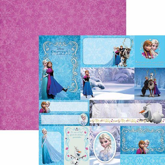 Papel Scrapbook Dupla Face 30,5x30,5cm Frozen 2 Tags SDFD-102 - Toke e Crie