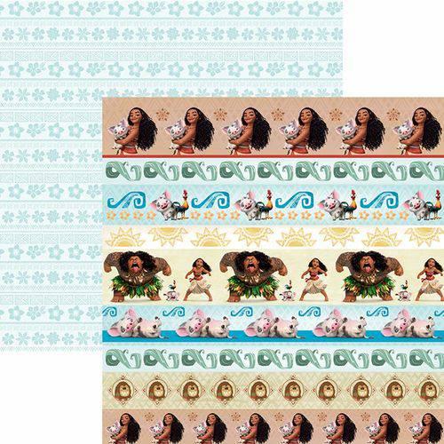 Papel Scrapbook Dupla Face 30,5x30,5cm Moana 2 Faixas Sdfd-089 - Toke e Crie
