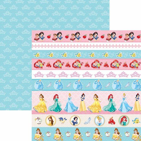 Papel Scrapbook Dupla Face 30,5x30,5cm Princesas 2 Faixas SDFD-055 - Toke e Crie