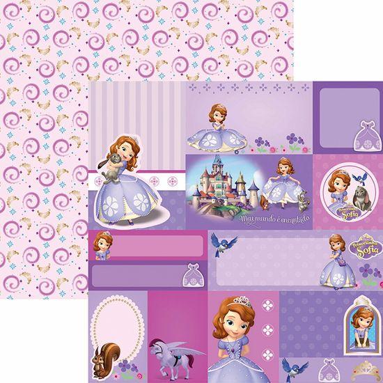 Papel Scrapbook Dupla Face 30,5x30,5cm Princesinha Sofia 2 Tags SDFD-098 - Toke e Crie