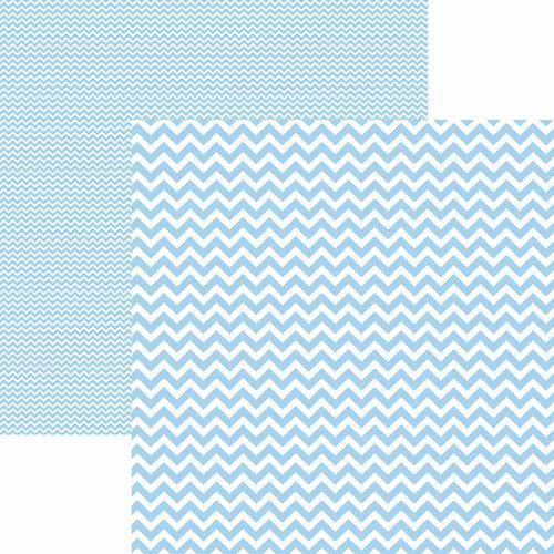 Papel Scrapbook Dupla Face Básico 30,5x30,5cm Chevron Azul Claro Kfsb421 - Toke e Crie By Mariceli