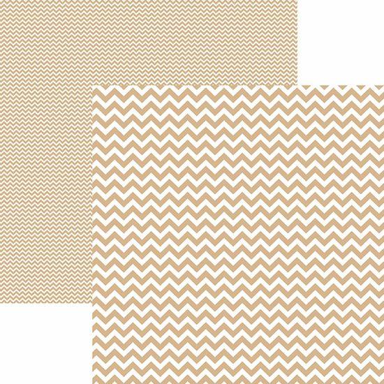Papel Scrapbook Dupla Face Básico 30,5x30,5cm Chevron Café com Leite KFSB427 - Toke e Crie By Mariceli