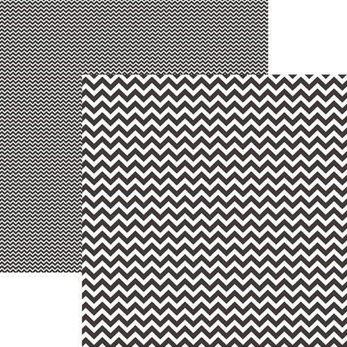 Papel Scrapbook Dupla Face Básico 30,5x30,5cm Chevron Preto Kfsb413 - Toke e Crie By Mariceli