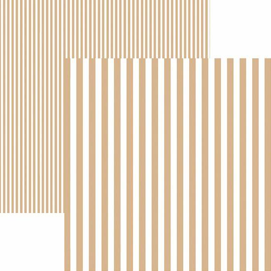Papel Scrapbook Dupla Face Básico 30,5x30,5cm Listras Café com Leite KFSB447 - Toke e Crie By Mariceli