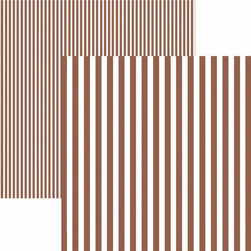 Papel Scrapbook Dupla Face Básico 30,5x30,5cm Listras Marrom Kfsb438 - Toke e Crie By Mariceli