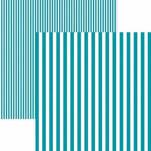 Papel Scrapbook Dupla Face Básico 30,5x30,5cm Listras Turquesa Kfsb444 - Toke e Crie By Mariceli