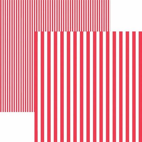 Papel Scrapbook Dupla Face Básico 30,5x30,5cm Listras Vermelha Kfsb428 - Toke e Crie By Mariceli