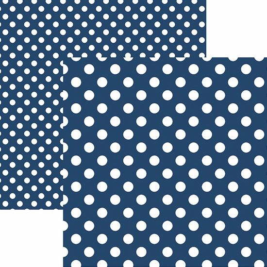 Papel Scrapbook Dupla Face Básico 30,5x30,5cm Poá Grande Azul Marinho KFSB472 - Toke e Crie By Mariceli