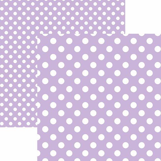 Papel Scrapbook Dupla Face Básico 30,5x30,5cm Poá Grande Lilás Claro KFSB476 - Toke e Crie By Mariceli