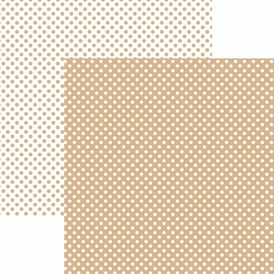 Papel Scrapbook Dupla Face Básico 30,5x30,5cm Poá Pequeno Café com Leite KFSB467 - Toke e Crie By Mariceli