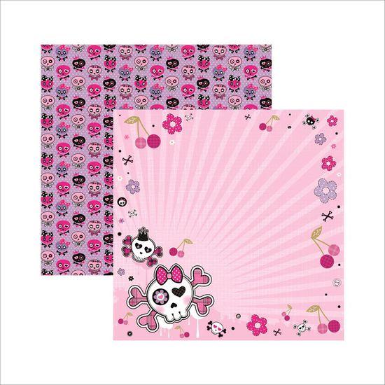 Papel Scrapbook Dupla Face Caveiras Pink Floral SDF449 - Toke e Crie