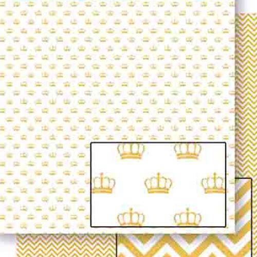 Papel Scrapbook Dupla Face Coroas Douradas Sd-453 - Litoarte
