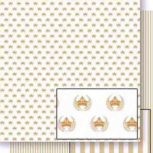 Papel Scrapbook Dupla Face Coroas e Ramos Dourado Sd-455 - Litoarte