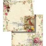 Papel Scrapbook Dupla Face Flores com Pássaro e Gaiola Lscd-322 - Litocart