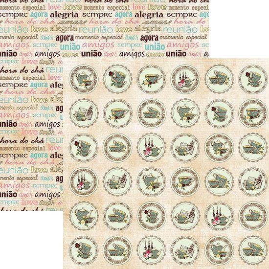 Papel Scrapbook Dupla Face Hora do Chá Selos SDF665 - Toke e Crie By Flavia Terzi