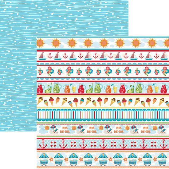 Papel Scrapbook Dupla Face Mini Básico 30,5x30,5cm Verão Faixas SMB-014 – Toke e Crie By Ivana Madi