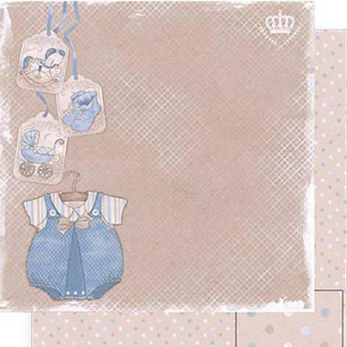 Papel Scrapbook Dupla Face Roupa Baby Menino Sd-495 - Litoarte