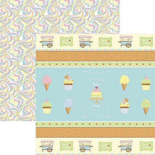 Papel Scrapbook Dupla Face Sweet Candy Fitas e Rótulos Sdf659 - Toke e Crie By Mariceli