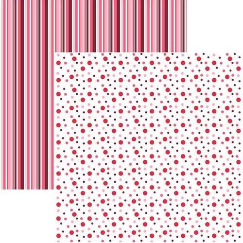 Papel Scrapbook Duplo Multitons Poa e Listra Grandes Vermelho KFSB381 By Vlady – Toke e Crie
