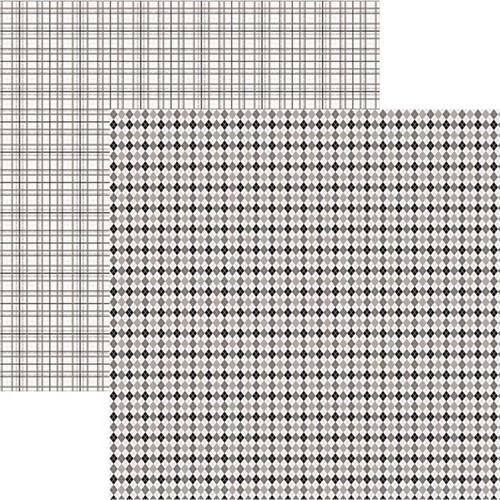 Papel Scrapbook Duplo Multitons Xadrez Petro e Branco KFSB371 By Vlady – Toke e Crie