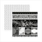 Papel Scrapbook Floral Preto e Branco Barrinhas e Tags SDF436 - Toke e Crie