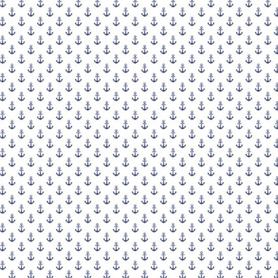 Papel Scrapbook Hot Stamping Litoarte SH30-024 30x30cm Âncoras Azul Fundo Branco