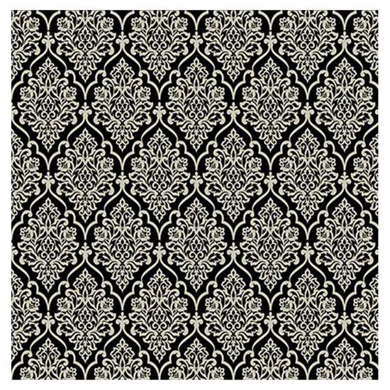Papel Scrapbook Hot Stamping Litoarte SH30-040 30x30cm Floral Prata Fundo Preto