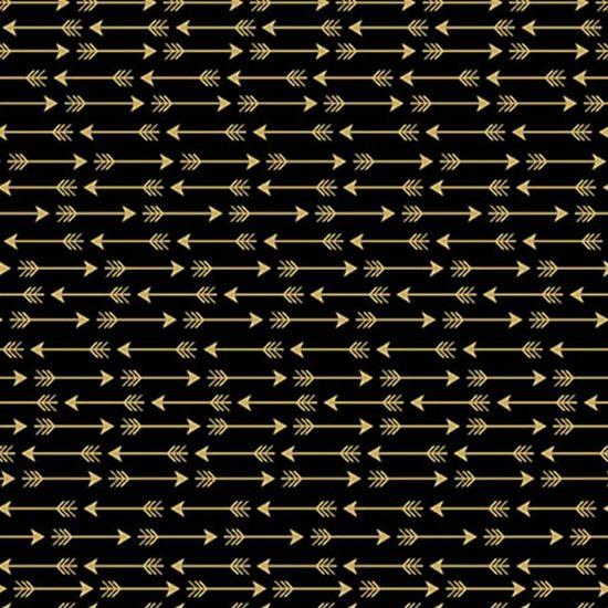 Papel Scrapbook Hot Stamping Litoarte SH30-044 30x30cm Flechas Dourado Fundo Preto