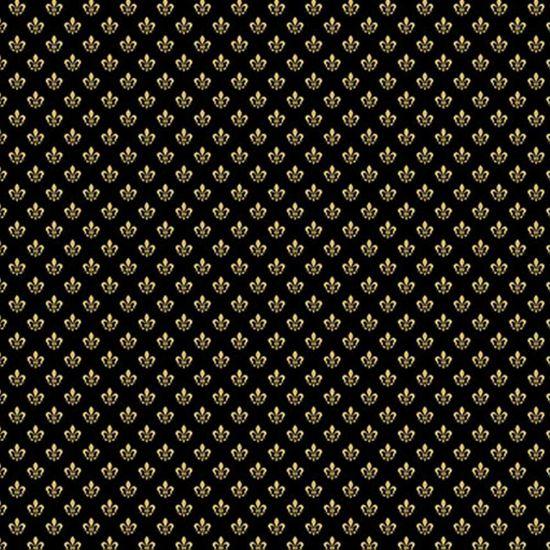 Papel Scrapbook Hot Stamping Litoarte SH30-054 30x30cm Flor de Lis Dourado Fundo Preto
