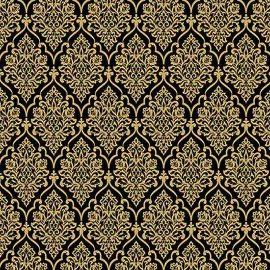 Papel Scrapbook Hot Stamping Litoarte SH30-039 30x30cm Floral Dourado Fundo Preto