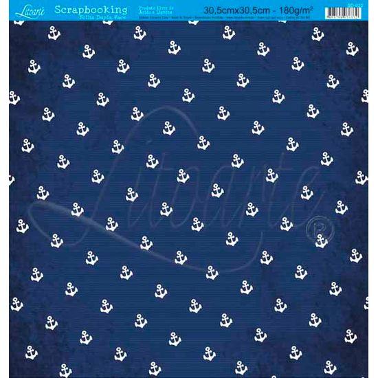 Papel Scrapbook Litoarte 30,5x30,5 SD-022 Âncora Azul Escuro