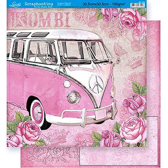 Papel Scrapbook Litoarte 30,5x30,5 SD-330 Kombi e Rosas Rosa
