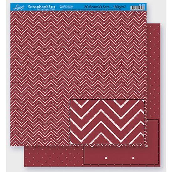 Papel Scrapbook Litoarte 30,5x30,5 SD-300 Chevron e Poá Bordô
