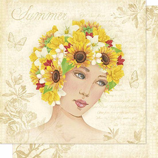 Papel Scrapbook Litoarte 30,5x30,5 SD-200N Mulher e Girassol