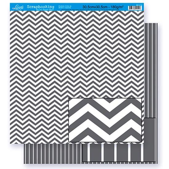 Papel Scrapbook Litoarte 30,5x30,5 SD-301 Chevron e Listras Cinza e Branco