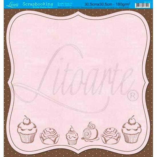 Papel Scrapbook Litoarte 30,5x30,5 SD-031 Cupcake e Poá Colorido