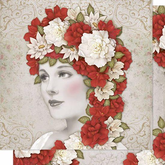 Papel Scrapbook Litoarte 30,5x30,5 SD-201N Mulher e Flores Vermelhas