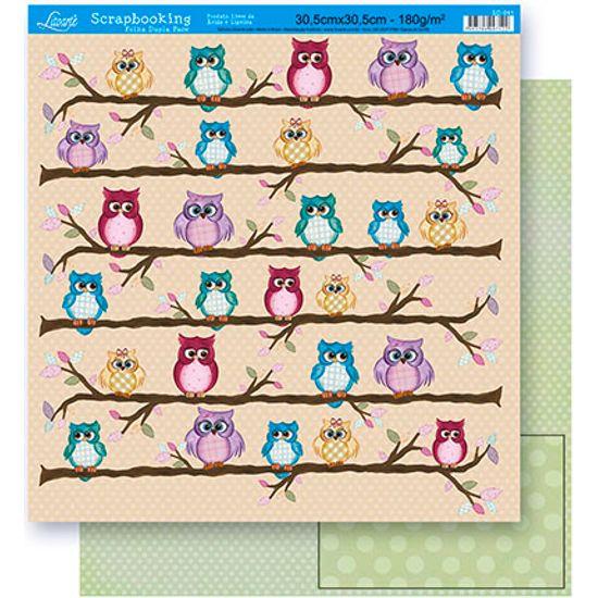 Papel Scrapbook Litoarte 30,5x30,5 SD-041 Corujas Bege