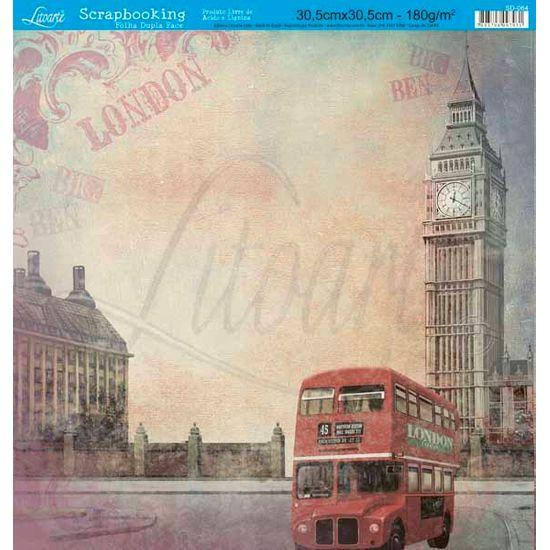 Papel Scrapbook Litoarte 30,5x30,5 SD-064 Ônibus London Bege