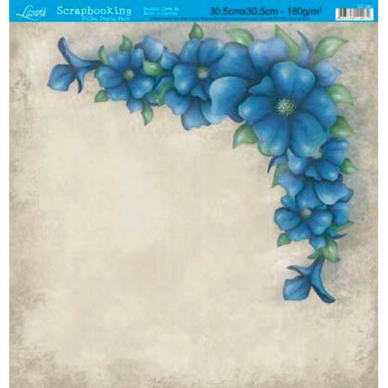 Papel Scrapbook Litoarte 30,5x30,5 SD-081 Cantoneira Flores Azul