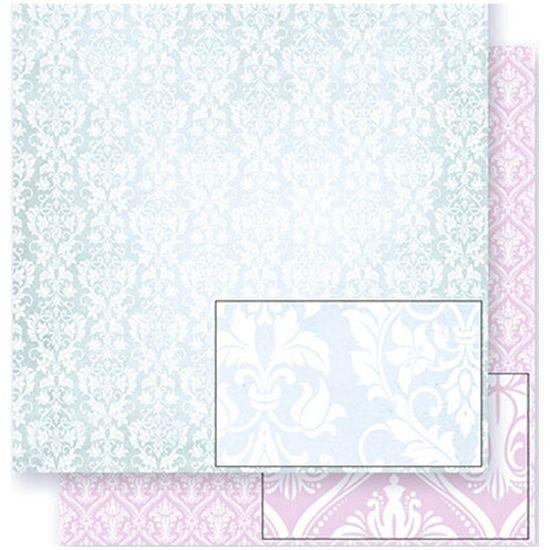 Papel Scrapbook Litoarte 30,5x30,5 SD-309 Arabescos Verde e Rosa