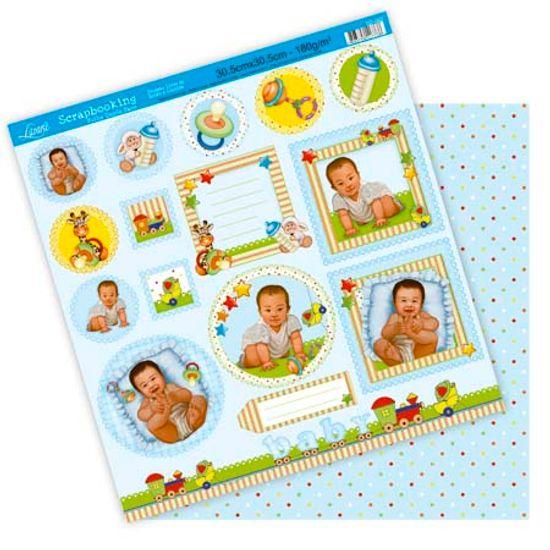 Papel Scrapbook Litoarte 30,5x30,5 SD-092 Tag Bebê Menino