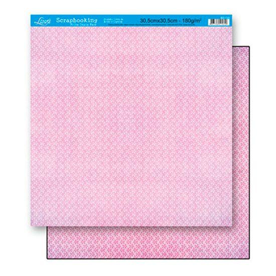 Papel Scrapbook Litoarte 30,5x30,5 SD-130 Flores Rosa