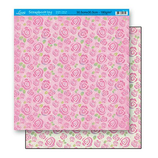 Papel Scrapbook Litoarte 30,5x30,5 SD-104 Estampa Rosas